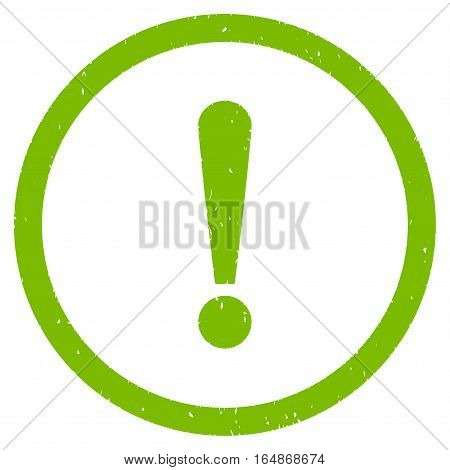 Exclamation Sign rubber seal stamp watermark. Icon vector symbol with grunge design and dust texture. Scratched eco green ink sign on a white background.