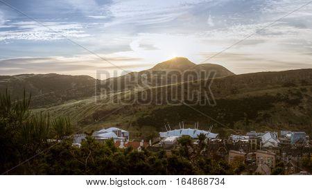 Sunrise Over Arthur's Seat, An Extinct Volcano Mountain In Edinburgh, As Seen From Calton Hill