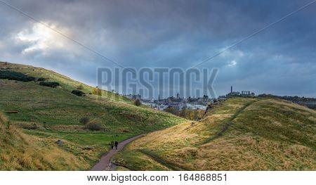 Arthur's seat, an extinct volcano overlooking Edinburgh