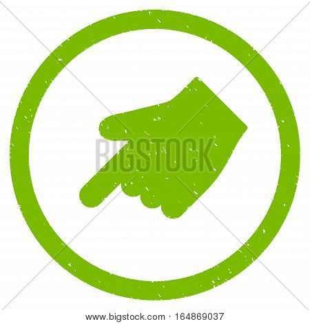 Index Finger Left Down Direction rubber seal stamp watermark. Icon vector symbol with grunge design and dust texture. Scratched eco green ink emblem on a white background.