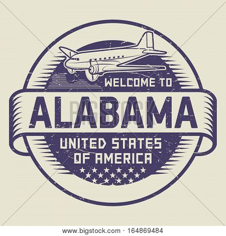 Grunge rubber stamp or tag with airplane and text Welcome to Alabama United States of America vector illustration