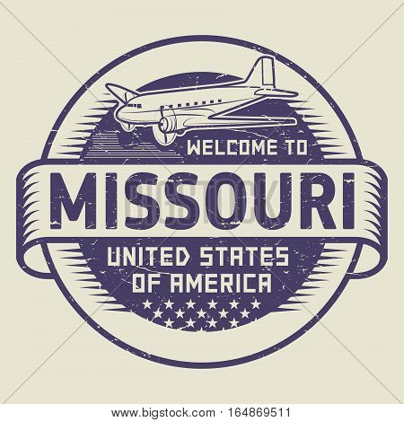 Grunge rubber stamp or tag with airplane and text Welcome to Missouri United States of America vector illustration