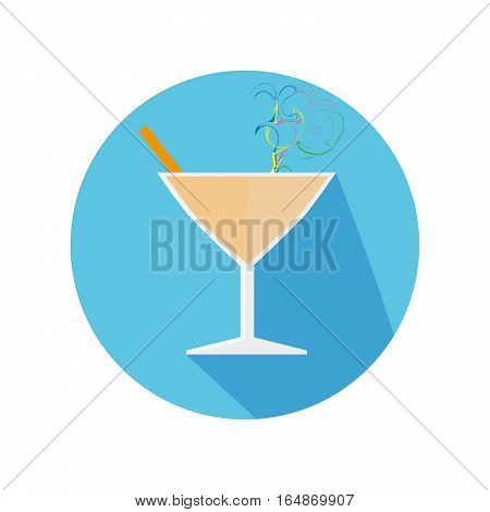 Flat Icon With Glass And Drink Long Shadow For Travel