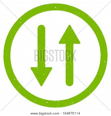 Vertical Exchange Arrows rubber seal stamp watermark. Icon vector symbol with grunge design and dirty texture. Scratched eco green ink emblem on a white background.