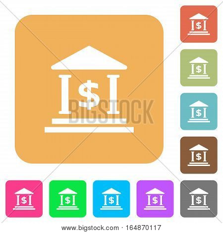 Dollar bank office flat icons on rounded square vivid color backgrounds.