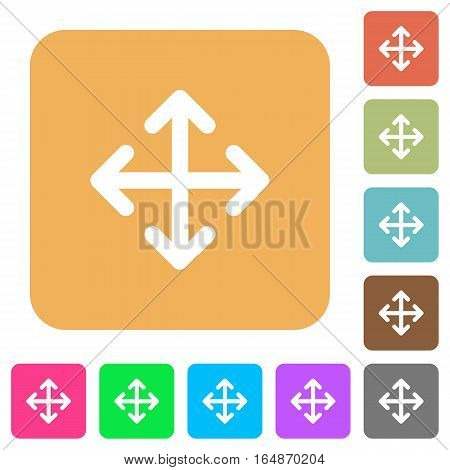 Move flat icons on rounded square vivid color backgrounds.