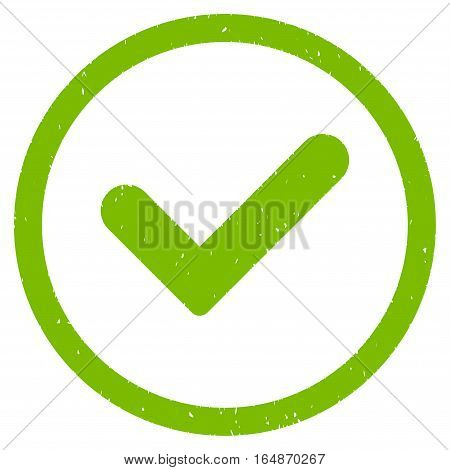 Yes rubber seal stamp watermark. Icon vector symbol with grunge design and unclean texture. Scratched eco green ink sticker on a white background.