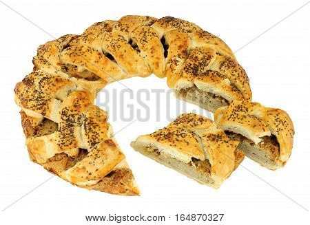 Baked puff pastry sausage meat garland isolated on a white background