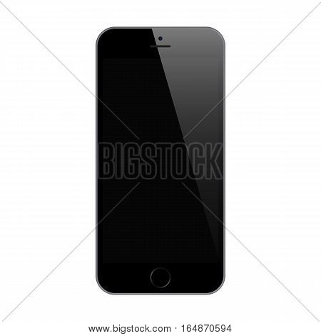 smartphone black color with blank touch screen isolated on white background. stock vector illustration eps10
