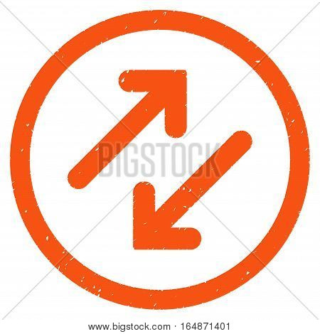 Diagonal Flipping Arrows rubber seal stamp watermark. Icon vector symbol with grunge design and dirty texture. Scratched orange ink sign on a white background.