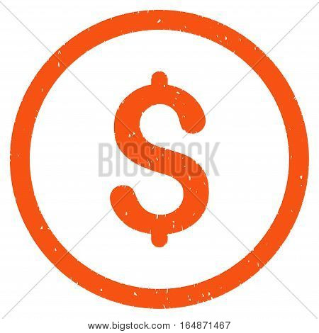 Dollar rubber seal stamp watermark. Icon vector symbol with grunge design and corrosion texture. Scratched orange ink sign on a white background.