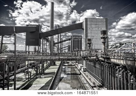 """Outdoor facility of the """"Zeche Zollverein"""" in Essen-Germany. The closed coke oven plant is world heritage site."""