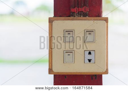 Closeup Of Old Socket, Electrical Outlet..