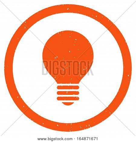 Electric Bulb rubber seal stamp watermark. Icon vector symbol with grunge design and dust texture. Scratched orange ink sticker on a white background.