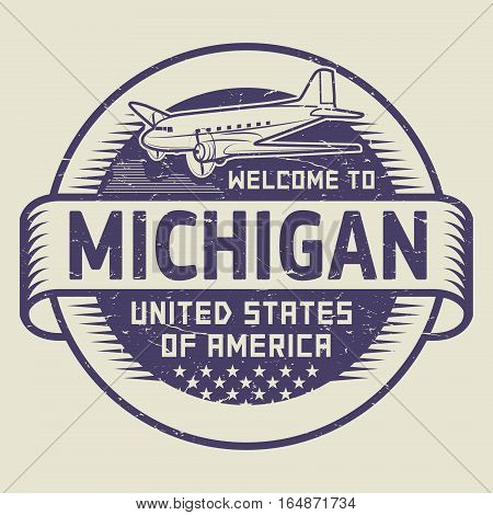 Grunge rubber stamp or tag with airplane and text Welcome to Michigan United States of America vector illustration