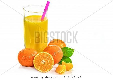 Glass of fruit juice from oranges mandarins and its fruits isolated on a white background