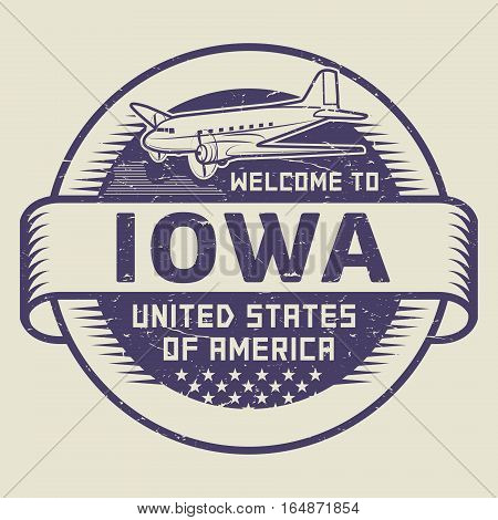 Grunge rubber stamp or tag with airplane and text Welcome to Iowa United States of America vector illustration