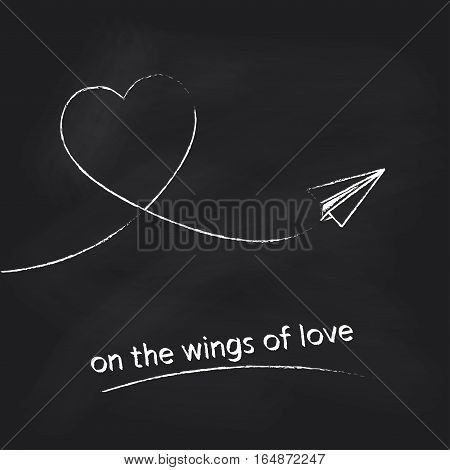 Paper plane with heart track on black chalkboard background. Concept for Valentines day design. Vector illustration.