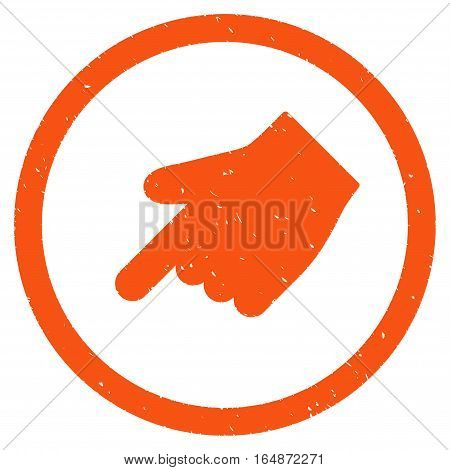 Index Finger Left Down Direction rubber seal stamp watermark. Icon vector symbol with grunge design and unclean texture. Scratched orange ink sign on a white background.