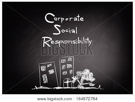 Business Concepts CSR Abbreviation or Corporate Social Responsibility on Black Chalkboard.
