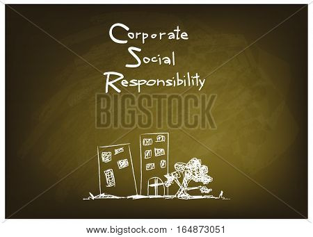 Business Concepts CSR Abbreviation or Corporate Social Responsibility on Green Chalkboard.