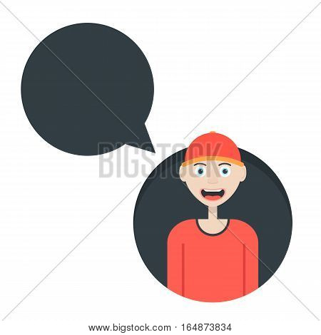 boy in red baseball cap with speech bubble. concept of fast food worker, workman, communication, conversation, clerk. isolated on white background. flat style trend modern design vector illustration