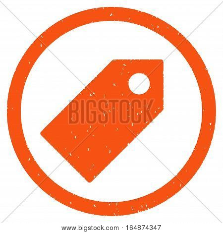 Tag rubber seal stamp watermark. Icon vector symbol with grunge design and unclean texture. Scratched orange ink sign on a white background.