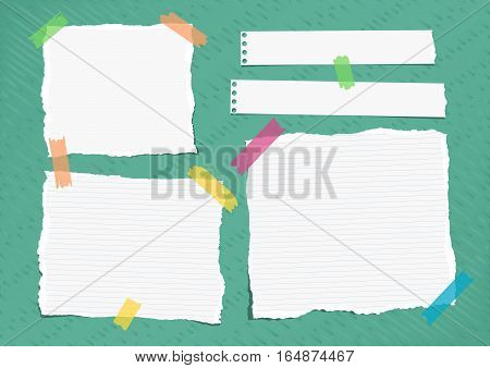 Ripped white ruled note, notebook, copybook paper sheets stuck with colorful sticky tape on bright green lined pattern.