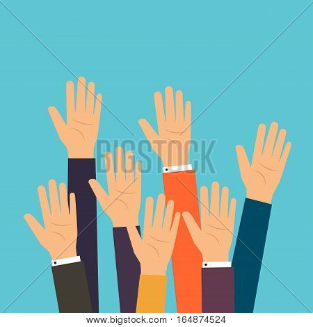 People Vote Hands. Raised Hands Volunteering. Flat Design Modern Vector Illustration Concept.