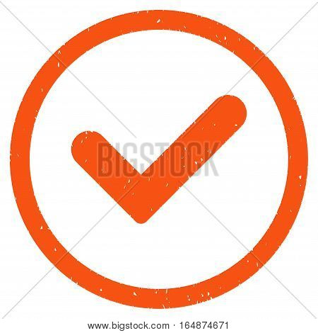 Yes rubber seal stamp watermark. Icon vector symbol with grunge design and dust texture. Scratched orange ink sign on a white background.