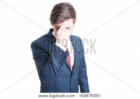 Portrait Of Business Man Having A Head Ache