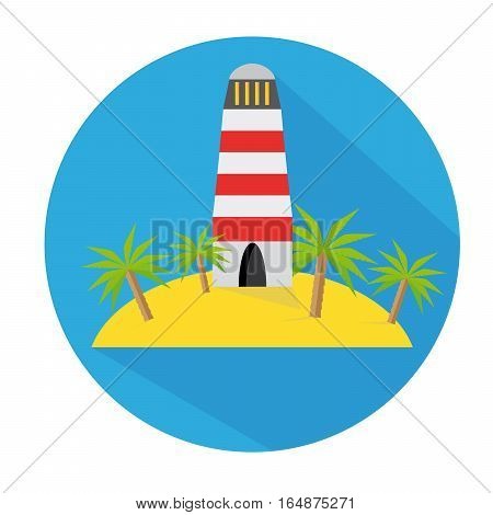 Flat Icon Lighthouse With Palm Tree And Island Long Shadow For Travel