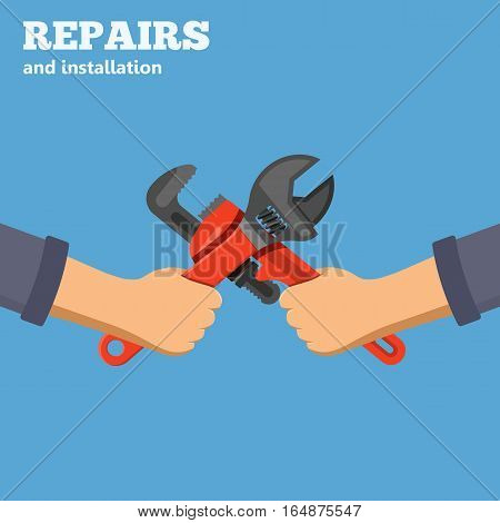 Plumbing Service concept Repair and installation falt icons hands with spanner and wrench. isolated vector illustration