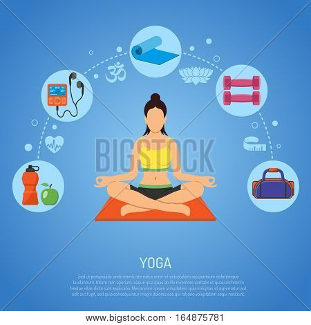 Yoga and Fitness Concept with Flat Icons apple, player, Dambbells and mat. vector illustration