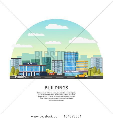 Modern cityscape template with cars road police and business centre buildings vector illustration