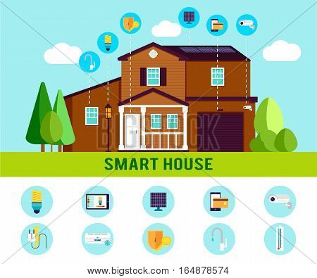 Smart house flat infographic with electronic automatic monitoring cooling and security systems vector illustration