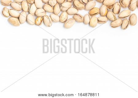 Heap of Pistachios Frame isolated on white background