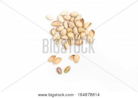 Heap of Pistachios isolated on white background