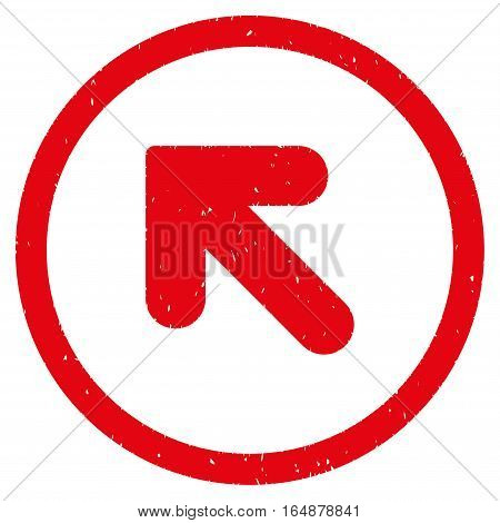 Arrow Up Left rubber seal stamp watermark. Icon vector symbol with grunge design and corrosion texture. Scratched red ink sign on a white background.