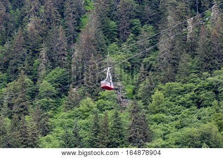 Cable car operation up the mountain in Juneau Alaska