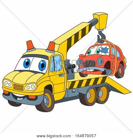 Cartoon vehicle transport. Tow truck (evacuator) with a broken car isolated on white background. Childish vector illustration and colorful book page for kids.