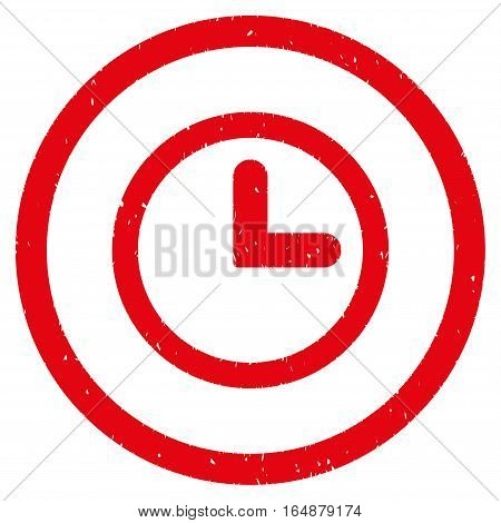 Clock rubber seal stamp watermark. Icon vector symbol with grunge design and corrosion texture. Scratched red ink sign on a white background.