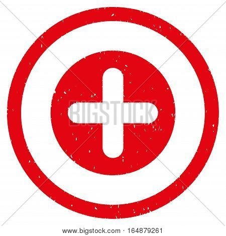 Create rubber seal stamp watermark. Icon vector symbol with grunge design and unclean texture. Scratched red ink sign on a white background.