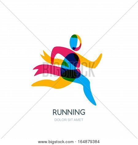 Vector Running Human Logo, Emblem Or Icon Design Element. Sport Man With Ribbon Of Winner Overlappin