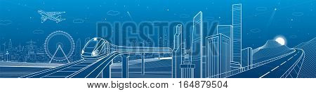 Highway in the mountains, city and transport mega panorama, train on the bridge, skyline, white lines landscape, night town, airplane fly, vector design art
