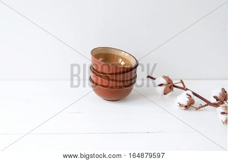 Minimal feminine elegant composition with cotton and bowls for blogs, shops and social media