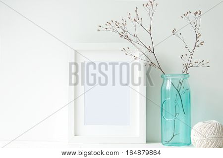 Minimal white frame with turquoise vase for blogs, shops and social media