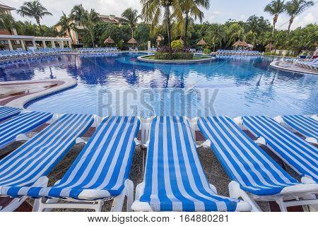 Swimming Pool In Luxury Resort, Riviera Maya, Mexico