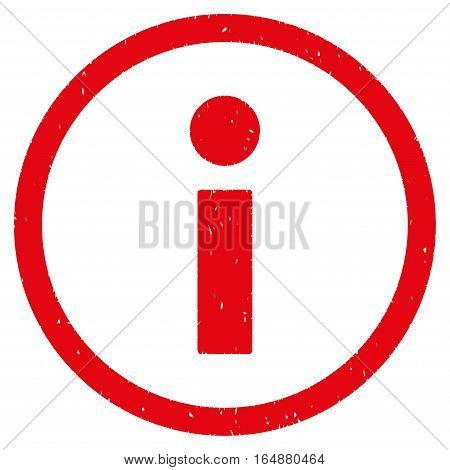 Info rubber seal stamp watermark. Icon vector symbol with grunge design and dirty texture. Scratched red ink emblem on a white background.