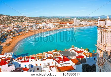 View of the sea from a height of Pope Luna's Castle. Valencia, Spain.  Peniscola. Castellón. The medieval castle of the Knights Templar on the beach. Beautiful view of the sea and the bay.